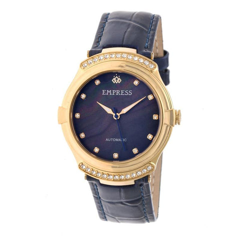 Empress Francesca Automatic MOP Leather-Band Watch - Navy EMPEM2204
