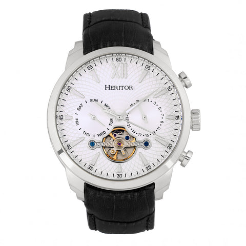 Heritor Automatic Arthur Semi-Skeleton Leather-Band Watch w/ Day/Date - Silver HERHR7901