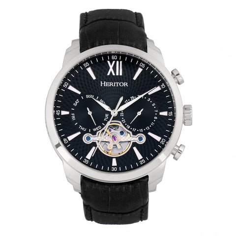 Heritor Automatic Arthur Semi-Skeleton Leather-Band Watch w/ Day/Date - Silver/Black HERHR7902