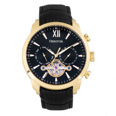 Heritor Automatic Arthur Semi-Skeleton Leather-Band Watch w/ Day/Date - Gold/Black HERHR7905