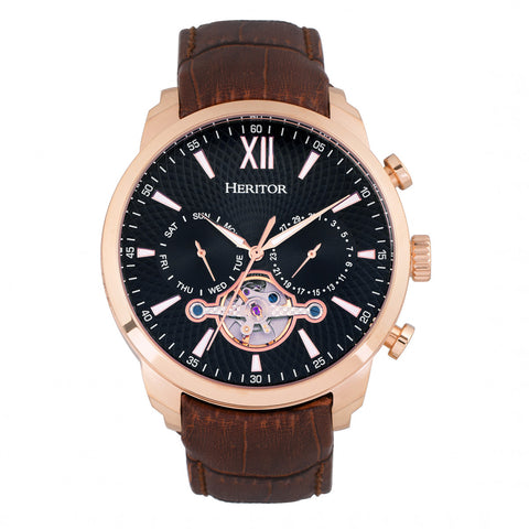 Heritor Automatic Arthur Semi-Skeleton Leather-Band Watch w/ Day/Date - Rose Gold/Black HERHR7906