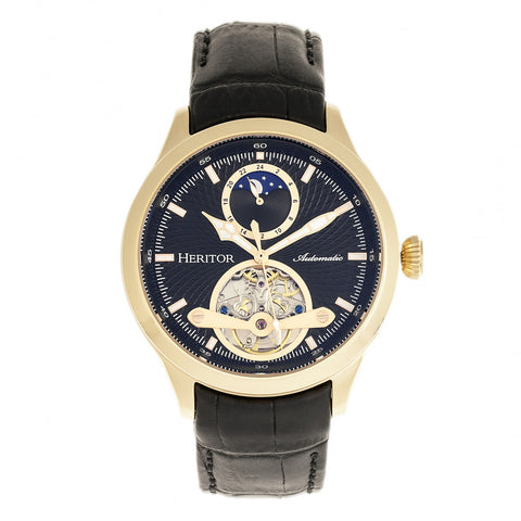 Heritor Automatic Gregory Semi-Skeleton Leather-Band Watch - Gold/Black HERHR8104