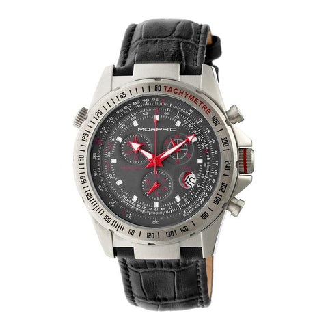 Morphic M36 Series Leather-Band Chronograph Watch - Silver/Charcoal MPH3604