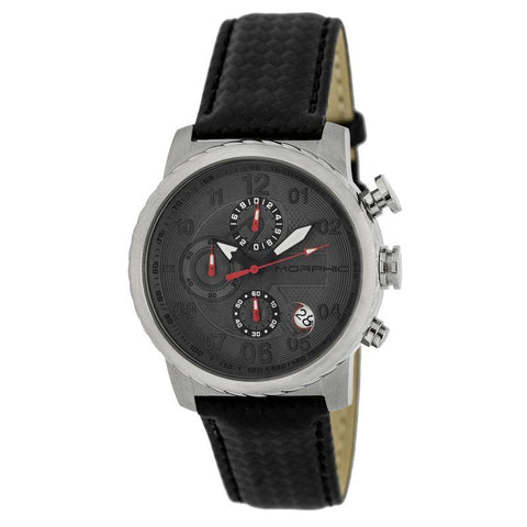 Morphic M38 Series Chronograph Men?s Watch w/ Date - Silver/Charcoal MPH3803