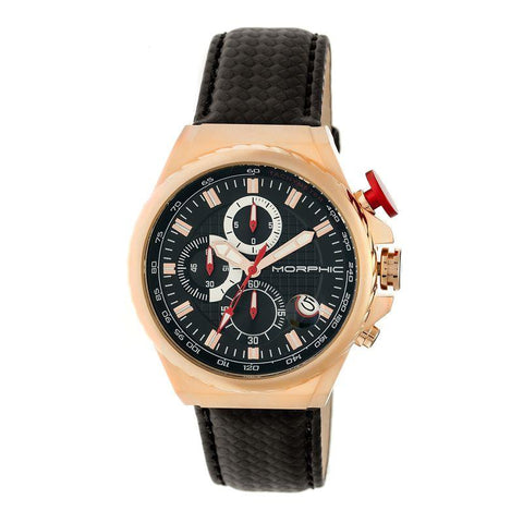 Morphic M39 Series Leather-Band Chronograph Watch - Rose Gold/Black MPH3907