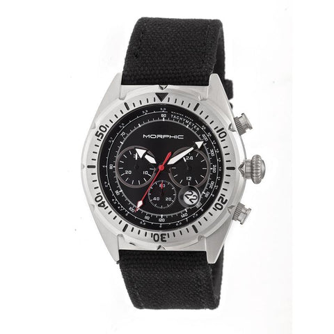 Morphic M53 Series Chronograph Fiber-Weaved Leather-Band Watch w/Date - Silver/Black MPH5301