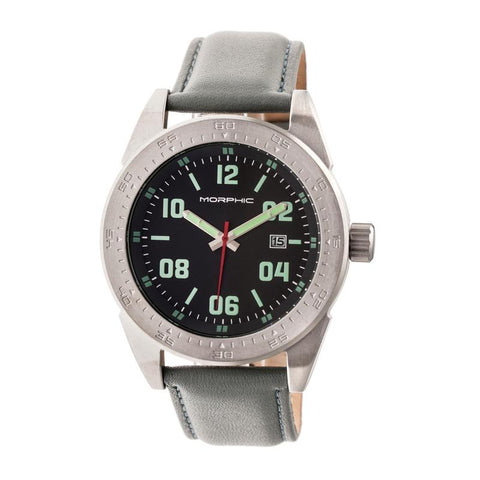 Morphic M63 Series Leather-Band Watch w/Date - Black/Grey MPH6304