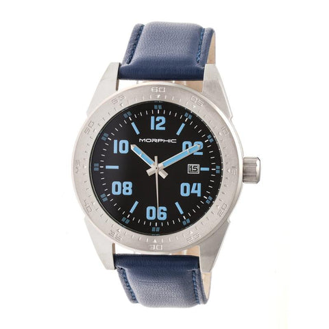 Morphic M63 Series Leather-Band Watch w/Date - Black/Blue MPH6308