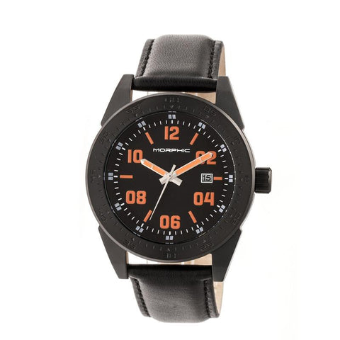 Morphic M63 Series Leather-Band Watch w/Date - Black/Black-Orange MPH6310