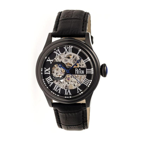 Reign Kennedy Automatic Leather-Band Watch - Black REIRN2003