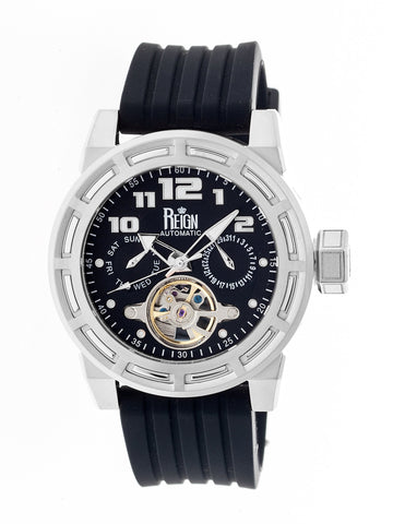 Reign Rothschild Automatic Semi-Skeleton Watch w/Day/Date - Silver/Black REIRN1302