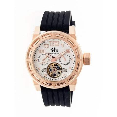 Reign Rothschild Automatic Semi-Skeleton Watch w/Day/Date - Rose Gold/Silver REIRN1305