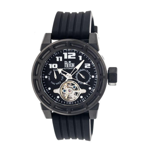 Reign Rothschild Automatic Semi-Skeleton Watch w/Day/Date - Black REIRN1307
