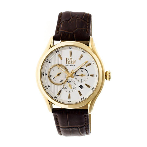 Reign Gustaf Automatic Leather-Band Watch - Brown/Gold REIRN1502
