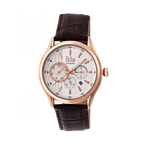 Reign Gustaf Automatic Leather-Band Watch - Brown/Rose Gold REIRN1504