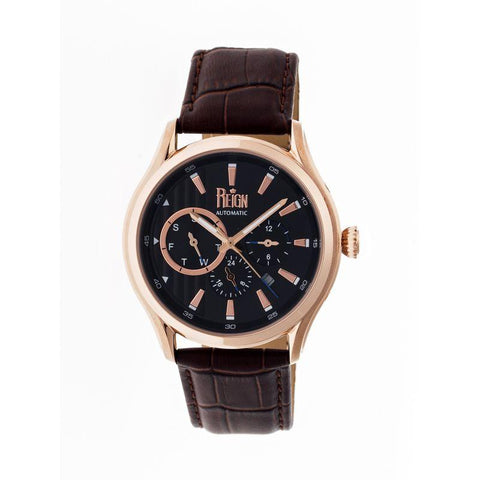 Reign Gustaf Automatic Leather-Band Watch - Brown/Black REIRN1506