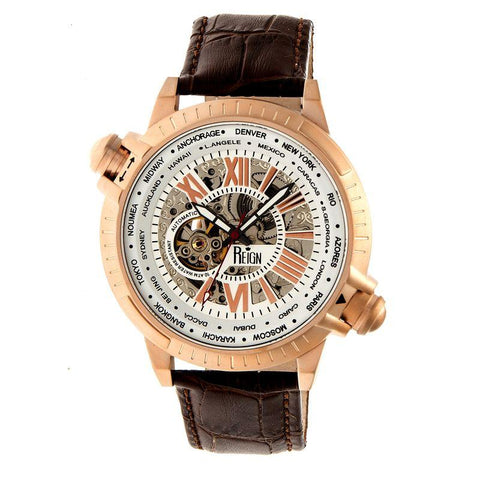 Reign Thanos Automatic Leather-Band Watch - Rose Gold/White REIRN2104
