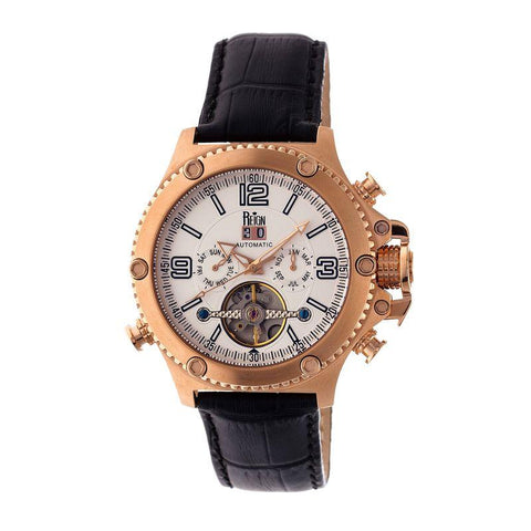 Reign Goliath Automatic Leather-Band Watch - Rose Gold/Silver REIRN3306