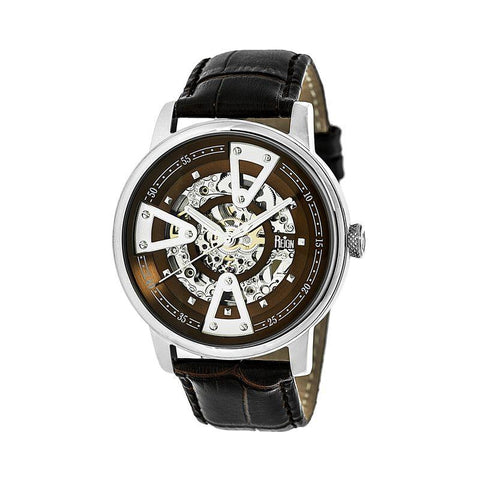 Reign Belfour Automatic Skeleton Leather-Band Watch - Silver/Brown REIRN3602