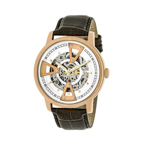 Reign Belfour Automatic Skeleton Leather-Band Watch - Rose Gold/Silver REIRN3604