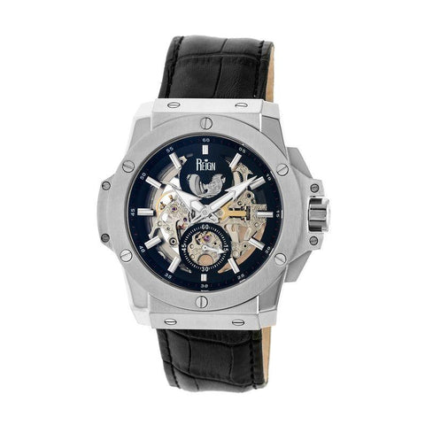 Reign Commodus Automatic Skeleton Leather-Band Watch - Silver/Black REIRN4002