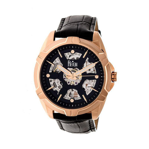 Reign Carlisle Automatic Skeleton Leather-Band Watch - Rose Gold/Black REIRN4206