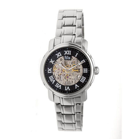 Reign Kahn Automatic Skeleton Bracelet Watch - Silver/Black REIRN4302