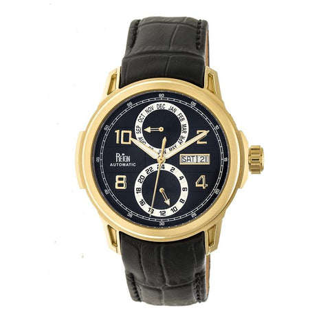 Reign Cascade Automatic Leather-Band Watch w/Day/Date - Gold/Black REIRN4406