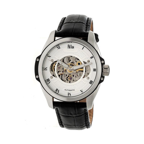 Reign Henley Automatic Semi-Skeleton Leather-Band Watch - Black/White REIRN4503