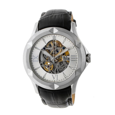 Reign Dantes Automatic Skeleton Dial Leather-Band Watch - Silver REIRN4703