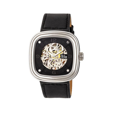 Reign Nero Skeleton Dial Leather-Band Watch - Silver REIRN4803