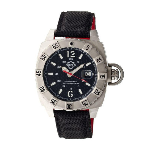 Shield Vujnovich Swiss Men's Diver Watch w/Date - Silver/Black SLDSH0702
