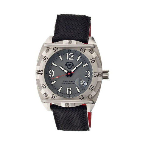 Shield Pilecki Leather-Band Swiss Mens Diver Watch - Silver/Grey SLDSH0603
