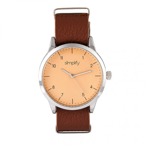 Simplify The 5600 Leather-Band Watch - Nude/Light Brown SIM5604