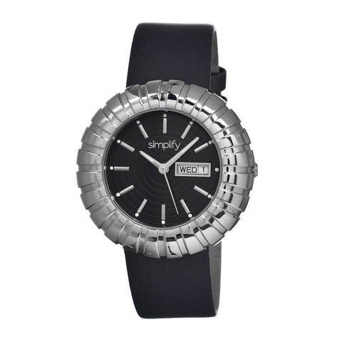 Simplify The 2100 Leather-Band Ladies Watch w/Date - Silver/Black SIM2102