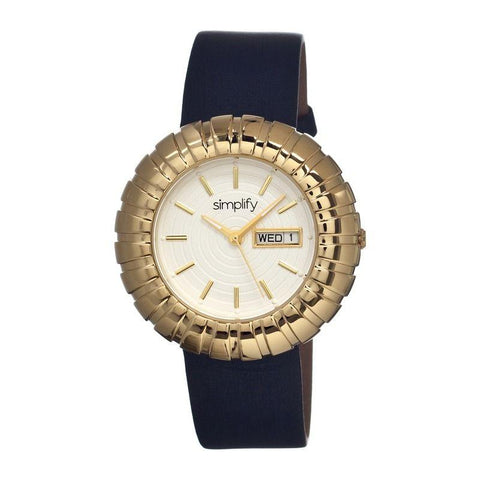 Simplify The 2100 Leather-Band Ladies Watch w/Date - Gold/Black/White SIM2103