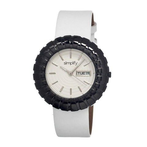 Simplify The 2100 Leather-Band Ladies Watch w/Date - Black/White/White SIM2107