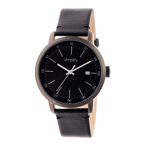 Simplify The 2500 Leather-Band Men's Watch w/ Date - Black SIM2502