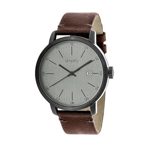 Simplify The 2500 Leather-Band Men's Watch w/ Date - Plum SIM2503