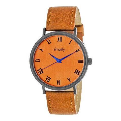 Simplify The 2900 Leather-Band Watch - Black/Orange SIM2907