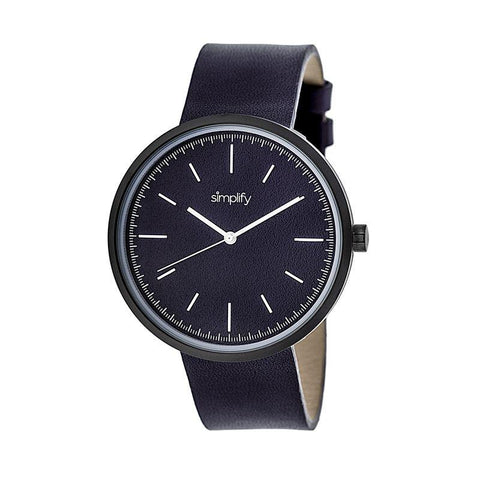 Simplify The 3000 Leather-Band Watch - Plum SIM3006