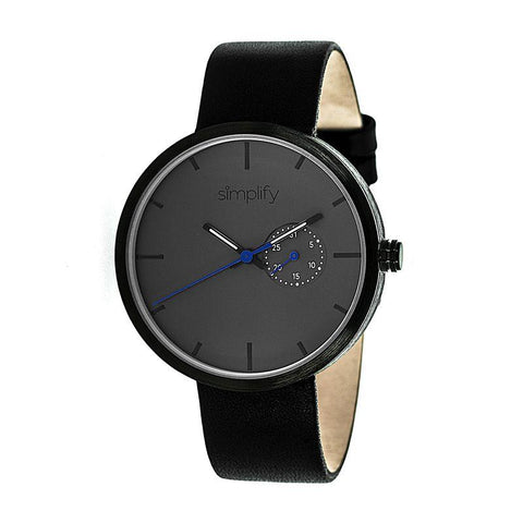 Simplify The 3900 Leather-Band Watch w/ Date - Black SIM3902