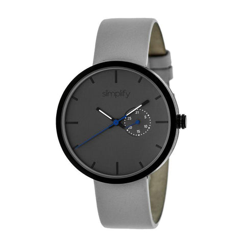 Simplify The 3900 Leather-Band Watch w/ Date - Grey SIM3903