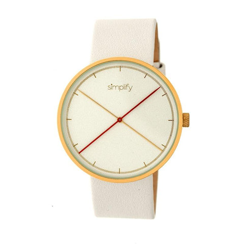 Simplify The 4100 Leather-Band Watch - Gold/White SIM4104