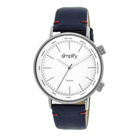 Simplify The 3300 Leather-Band Watch - Navy/White SIM3302