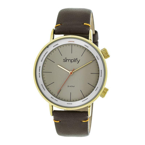 Simplify The 3300 Leather-Band Watch - Dark Brown/Gold SIM3305