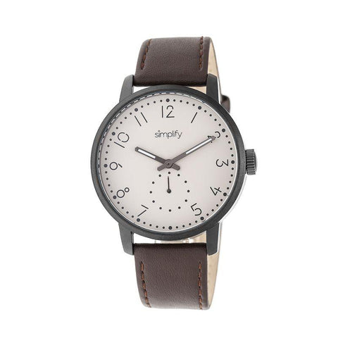 Simplify The 3400 Leather-Band Watch - Gunmetal/Dark Brown SIM3405