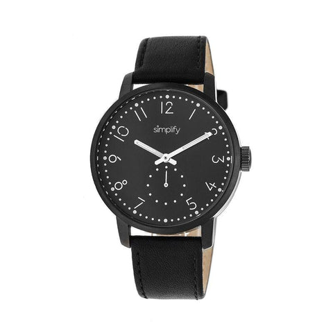 Simplify The 3400 Leather-Band Watch - Black SIM3406