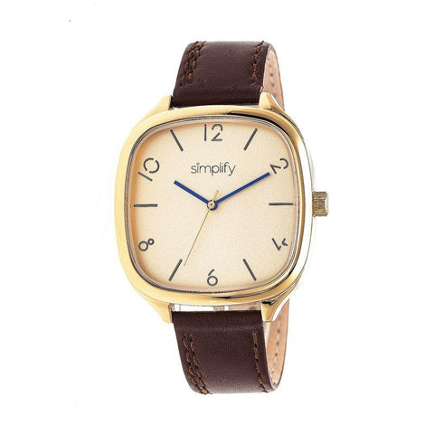 Simplify The 3500 Leather-Band Watch - Gold/Brown SIM3508