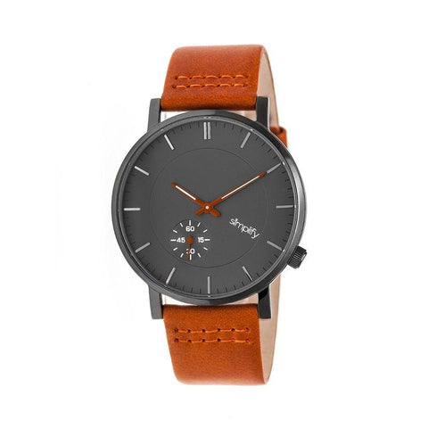 Simplify The 3600 Leather-Band Watch - Charcoal/Orange SIM3607